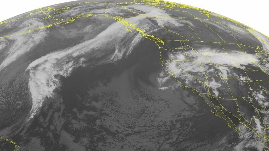 This NOAA satellite image taken Saturday, May 07, 2016, at 01:00 AM EDT shows a cutoff low over California that is producing widespread showers and clouds. This storm slowly moving eastward over the Rockies. It associated fronts are stretching into the Northern Plains, where thunderstorms are developing along it. The storm is developing in between two high pressure systems that is creating clear skies and quite weather for the Southwest and Pacific Northwest. (NOAA/Weather Underground via AP)