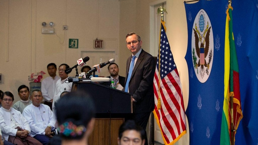U.S. Ambassador to Myanmar Scot Marciel listens to a question from the audience after giving his first speech as the ambassador in Yangon, Myanmar, Tuesday, May 10, 2016. Marciel spoke on U.S.- Myanmar relations to an audience including journalists, educators, youth leaders and members of think-tanks. (AP Photo/Gemunu Amarasinghe)