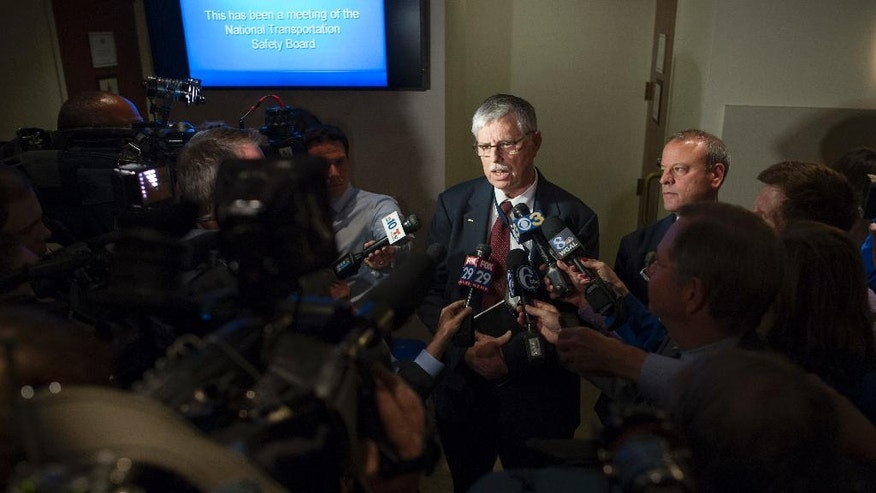 Amtrak CEO Joseph Boardman speaks with the news media following a National Transportation Safety Board (NTSB) meeting in Washington, Tuesday, May 17, 2016, on the derailment of an Amtrak passenger train in Philadelphia last week. (AP Photo/Cliff Owen)