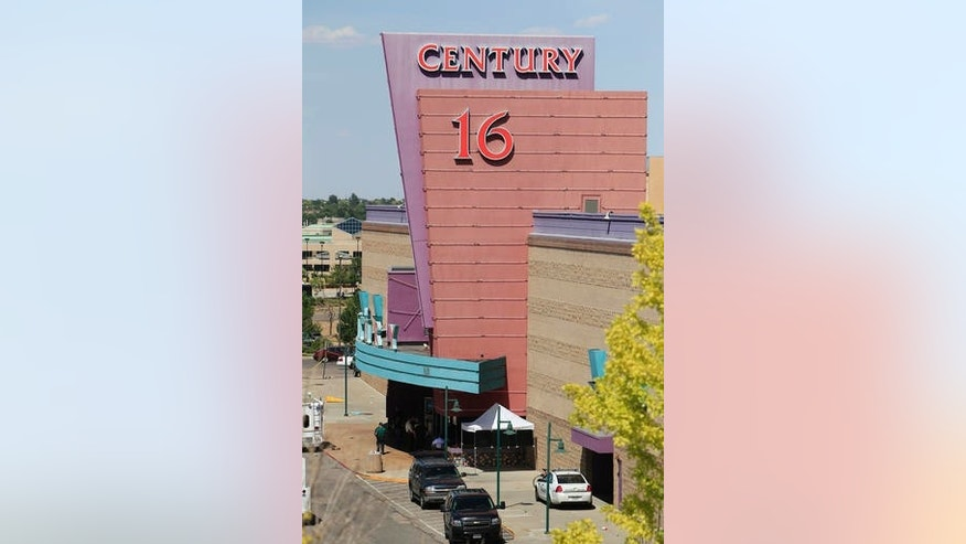 In this Friday, July 20, 2012 file photo, an overhead view from a neighboring rooftop gives a view of activities at the Century 16 theatre east of the Aurora Mall in Aurora, Colo.