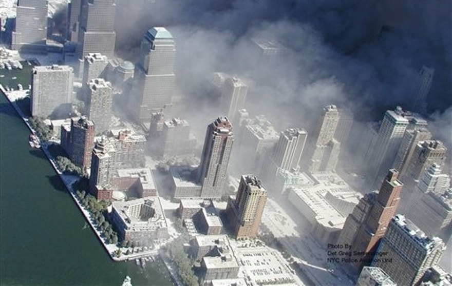 ** ADDS INFORMATION REGARDING SOURCING OF IMAGE ** This photo taken Sept. 11, 2001 by the New York City Police Department and obtained by ABC News, which claims to have obtained it under the Freedom of Information Act, shows smoke billowing from the grounds of World Trade Center in New York. (AP Photo/NYPD via ABC News, Det. Greg Semendinger) MANDATORY CREDIT