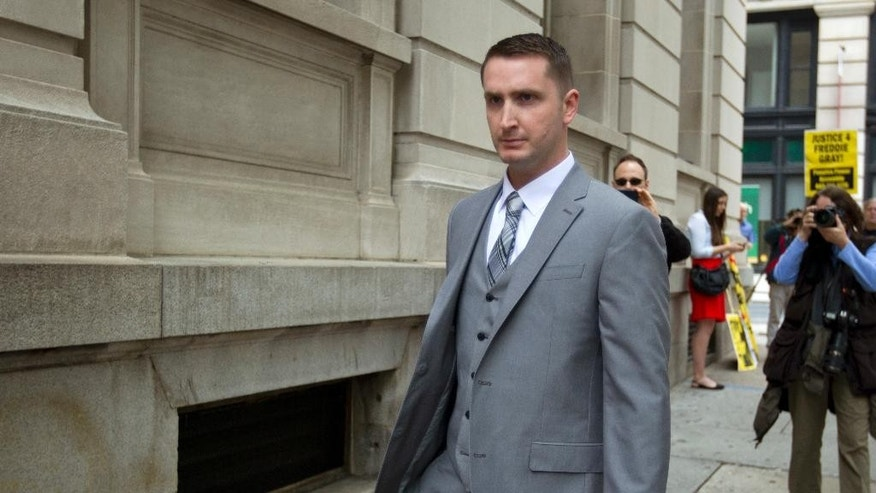 FILE  - This May 12, 2016 file photo shows officer Edward Nero, one of six Baltimore city police officers charged in connection to the death of Freddie Gray, arriving at a courthouse at the beginning of his trial in Baltimore Md. A judge is expected Monday, may 23, 2016 to hand down his verdict in the case of the Baltimore police officer charged in the arrest and subsequent death of Freddie Gray. (AP Photo/Jose Luis Magana, file)