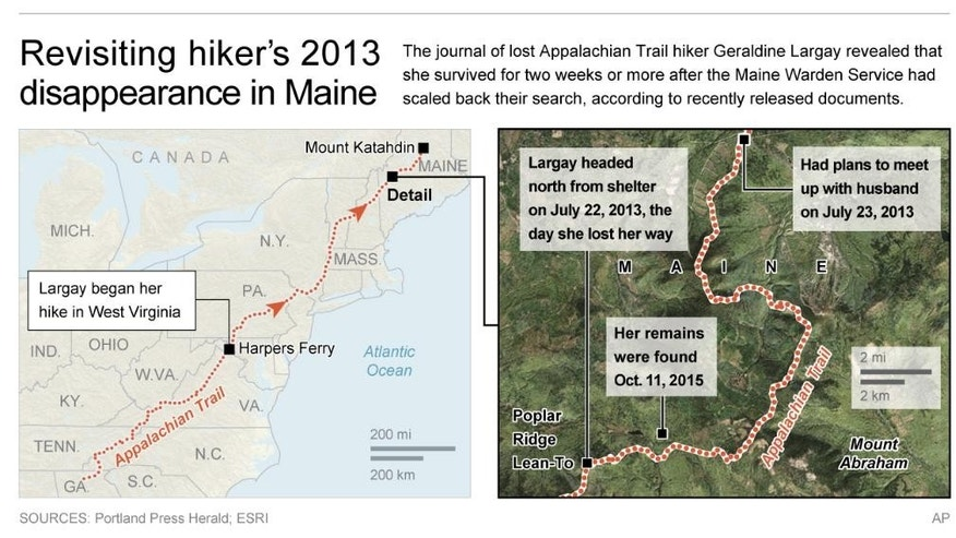 Map locates area on the Appalachian Trail where a hiker went missing in 2013; 4c x 3 3/4 inches; 195.7 mm x 95 mm;