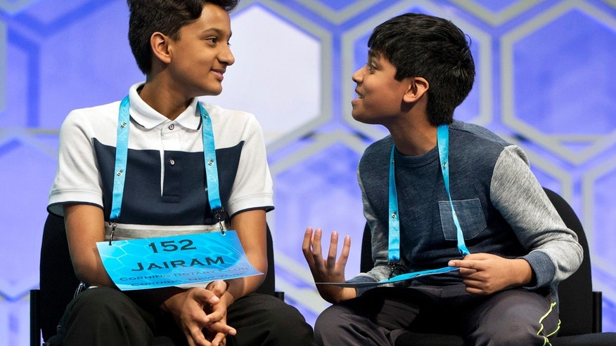 May 26, 2016: Nihar Janga, 11, of Austin, Texas, right, talks with Jairam Hathwar, 13, of Painted Post, N.Y., left, after another round where the two went head to head in a drawn out battle that ended in them being named co-champions in the 2016 National Spelling Bee in National Harbor, Md.