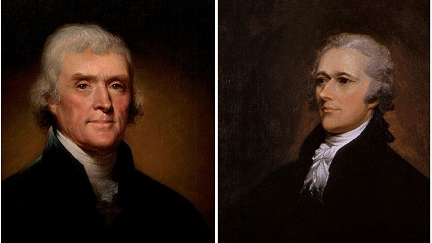 A letter penned by Thomas Jefferson, left, in 1816, laying out his differences with Alexander Hamilton, right, has a $375,000 price tag.