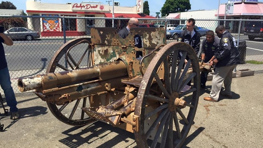 Police recovered a stolen cannon on May 12.