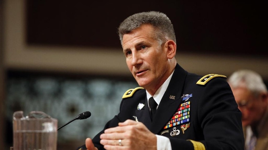 In this photo taken Jan. 28, 2016,  Gen. John Nicholson testifies on Capitol Hill in Washington. Nicholson is sending his recommendations to senior leaders this week on how many American troops should remain in the country next year to work with Afghan forces battling a resurgent Taliban, a military spokesman said Wednesday, June 1, 2016. (AP Photo/Alex Brandon)