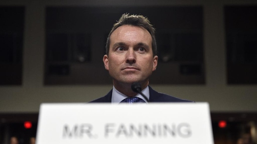 FILE - In this Jan. 21, 2016 file photo, Army Secretary nominee Eric Fanning, a close civilian adviser to Defense Secretary Ash Carter, arrives on Capitol Hill in Washington, Thursday, Jan. 21, 2016, to testify before the Senate Armed Services Committee hearing on his nomination. Fanning, the first gay to be the civilian head of a branch of the service, calls his elevation to the job remarkable.  (AP Photo/Susan Walsh)