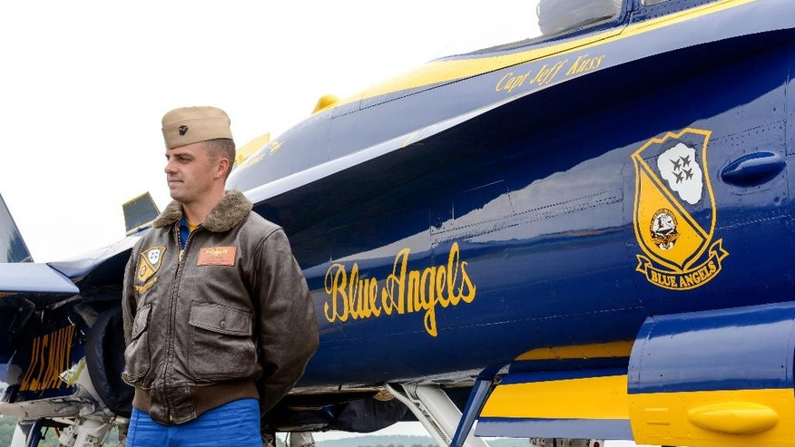 This May 19, 2016, photo shows Marine Capt. Jeff Kuss at an air show in Lynchburg, Va. A Blue Angels F/A-18 fighter jet crashed Thursday, June 2, near Nashville, Tenn., killing the pilot just days before a weekend air show performance, officials said. A U.S. official said the pilot was Kuss. (Matt Bell/The Register & Bee via AP) MANDATORY CREDIT