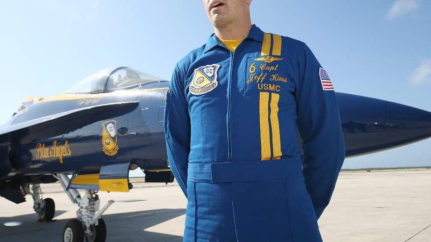 In this March 31, 2016 photo, Blue Angels Pilot Captain Jeff Kuss is interviewed at Naval Air Station Key West, Fla., prior to an Blue Angels show.  A Blue Angels F/A-18 fighter jet crashed Thursday, June 2, 2016 near Nashville,  killing the pilot just days before a weekend air show performance, officials said. A U.S. official said the pilot was Kuss.(Rob O'Neal/The Key West Citizen via AP)  MIAMI OUT; MANDATORY CREDIT