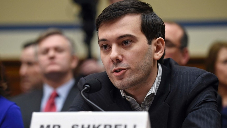 FILE- In this Feb. 4, 2016 file photo, pharmaceutical chief Martin Shkreli speaks on Capitol Hill in Washington, during the House Committee on Oversight and Reform Committee hearing on his former company's decision to raise the price of a lifesaving medicine.