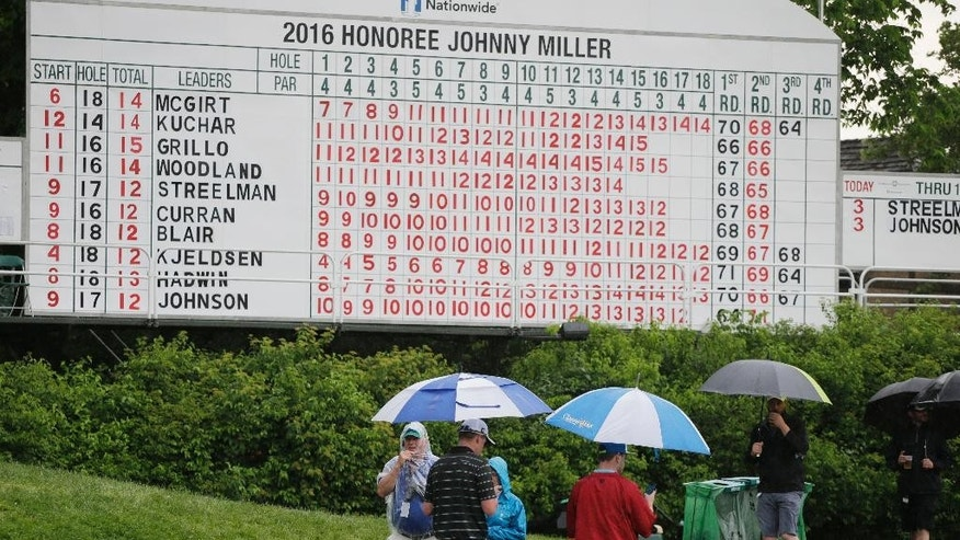 Fans walk past the scoreboard during a rain delay in the third round of the Memorial golf tournament, Saturday, June 4, 2016, in Dublin, Ohio. (AP Photo/Darron Cummings)