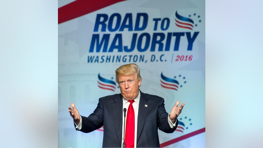 Republican presidential candidate Donald Trump addresses the Faith and Freedom Coalition's Road to Majority Conference in Washington, Friday, June 10, 2016. (AP Photo/Cliff Owen)