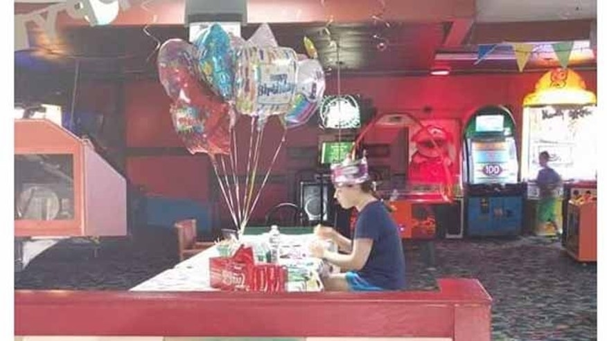 Photo of Hallee Sorenson celebrating her 18th birthday alone has gone viral. (Rebecca Guildford)