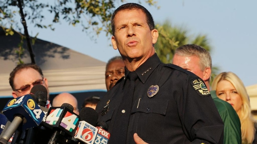 Orlando Police Chief John Mina describes the details of the fatal shootings at the Pulse Orlando nightclub during a media briefing Monday, June 13, 2016, in Orlando, Fla. (AP Photo/Chris O'Meara)