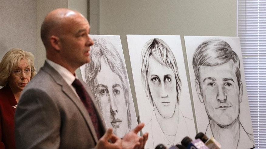 Law enforcement drawings of a suspected serial killer believed to have committed at least 12 murders across California in the 1970's and 1980's are seen as Sgt. Paul Belli, second from left, of the Sacramento County Sheriff's Department homicide bureau, discusses the case at a news conference Wednesday, June 15, 2016, in Sacramento, Calif. Authorities announced a $50,000 reward for the arrest and conviction of the person that along with murder, is suspected of committing at least 45 rapes and dozens of burglaries. (AP Photo/Rich Pedroncelli)