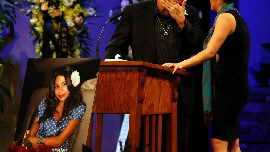 "FILE - In this Friday, Dec. 4, 2015, file photo, Reynaldo Gonzalez breaks down while remembering his daughter Nohemi Gonzalez, who was killed in the Paris attacks in November, at her funeral at the Calvary Chapel in Downey, Calif. Reynaldo Gonzalez is suing Twitter, Facebook and Google for allegedly supporting the attackers. The suit claims the companies gave ""material support"" to extremists by letting the Islamic State group recruit and spread propaganda via their online services. The companies said the lawsuit is without merit. (Genaro Molina/Los Angeles Times via AP, Pool, File)"