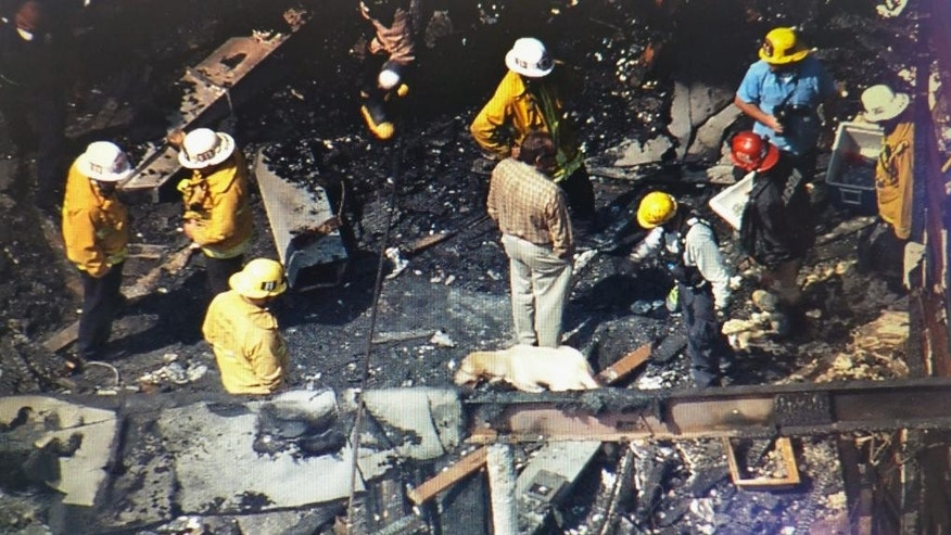 This image from video provided by KCBS-TV/KCAL-TV shows investigators and cadaver dogs searching the ruins of an abandoned two-story office building in the city's Westlake District Tuesday afternoon, June 14, 2016. Authorities said the death toll has risen to several people a day after the fire in the office building near downtown Los Angeles.  Authorities believe the fire was intentionally set. (KCBS-TV/KCAL-TV via AP) MANDATORY CREDIT