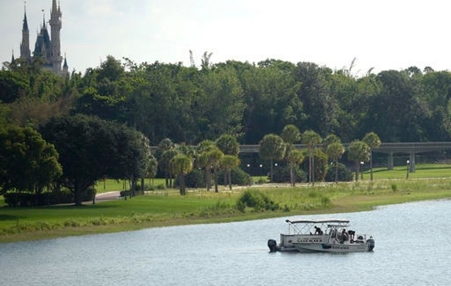 Orange County Sheriff's officers search the Seven Seas Lagoon between Walt Disney World's Magic Kingdom theme park, left, and the Grand Floridian Resort & Spa on Wednesday, June 15, 2016, in Lake Buena Vista, Fla., after a two-year-old toddler was dragged into the lake by an alligator. (AP Photo/Phelan M. Ebenhack)