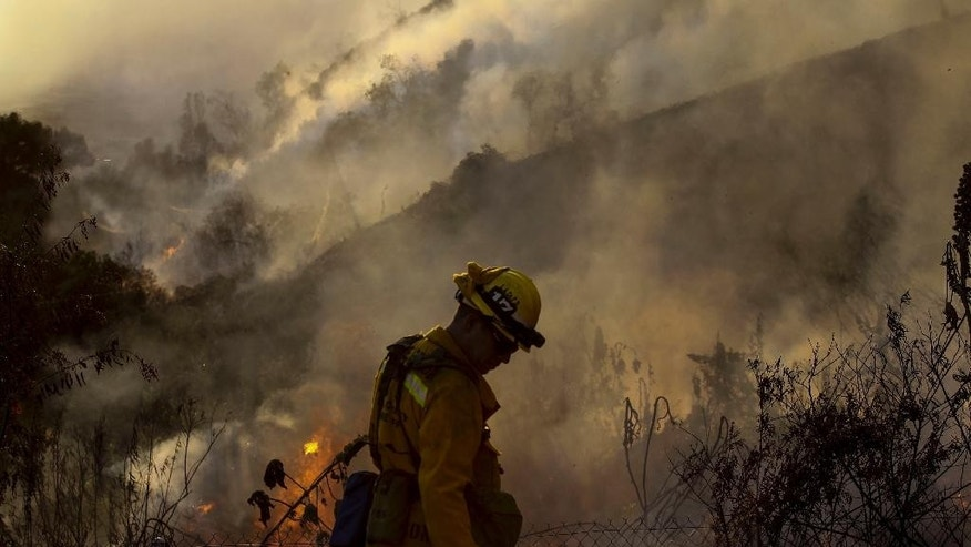 A firefighter keeps watch a wildfire along a hillside in Azusa, Calif., Monday, June 20, 2016. Police in the city of Azusa and parts of Duarte ordered hundreds of homes evacuated. Others were under voluntary evacuations. (AP Photo/Ringo H.W. Chiu)