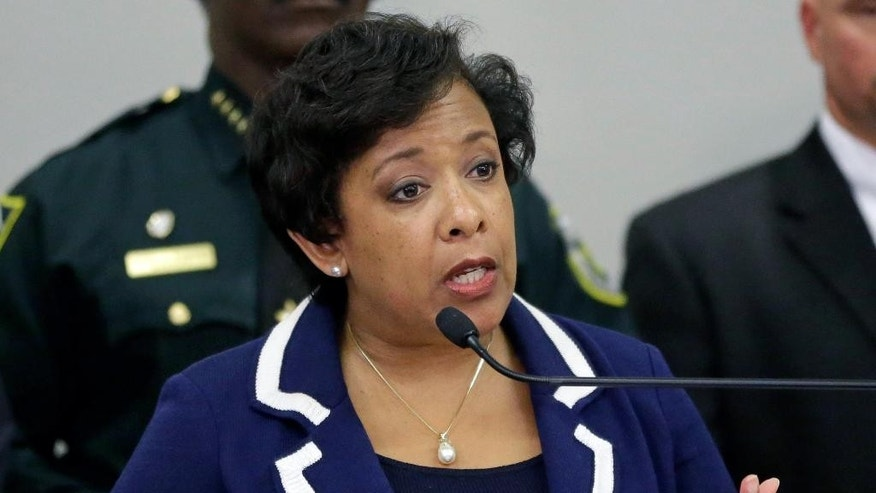 Attorney General Loretta Lynch makes comments during a news conference about the Pulse nightclub mass shooting, Tuesday, June 21, 2016, in Orlando, Fla. (AP Photo/John Raoux)