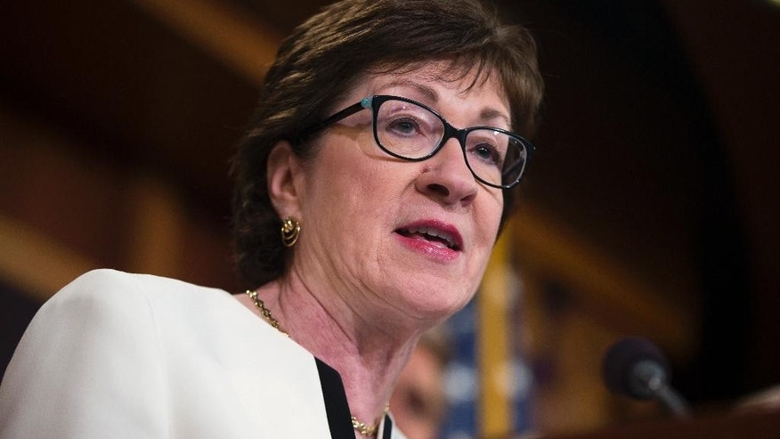 Sen. Susan Collins, R-Maine speaks during a news conference on Capitol Hill in Washington, Tuesday, June 21, 2016, to unveil a new gun legislation proposal. (AP Photo/Evan Vucci)
