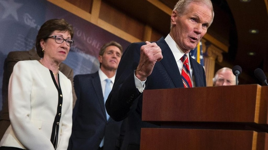 Sen. Bill Nelson, D-Fla., second from right, accompanied by, from left, Sen. Susan Collins, R-Maine, Sen. Jeff Flake, R-Ariz., Nelson, and Sen. Angus King, I-Maine, speaks during a news conference on Capitol Hill in Washington, Tuesday, June 21, 2016,to discuss new gun legislation proposals.  (AP Photo/Evan Vucci)