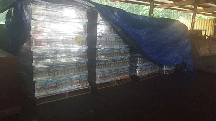 June 21, 2016: This image shows beer stolen from Sweetwater Brewing Company in Atlanta, Ga. Approximately one-quarter of the nearly 3,300 cases were recovered at a warehouse in Clayton County, Ga.