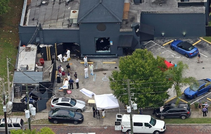 FILE - In this Sunday, June 12, 2016 file photo, an aerial view of the mass shooting scene at the Pulse nightclub is seen in Orlando, Fla. A gunman opened fire inside a crowded gay nightclub early Sunday, before dying in a gunfight with SWAT officers, police said. With news that Omar Mateen killed dozens of people in the gay nightclub in Florida and was born to Afghan immigrant parents, the Afghan-American community is expressing horror, sorrow and disbelief that one of their own could commit the worst mass shooting in modern U.S. history. (Red Huber/Orlando Sentinel via AP, File)