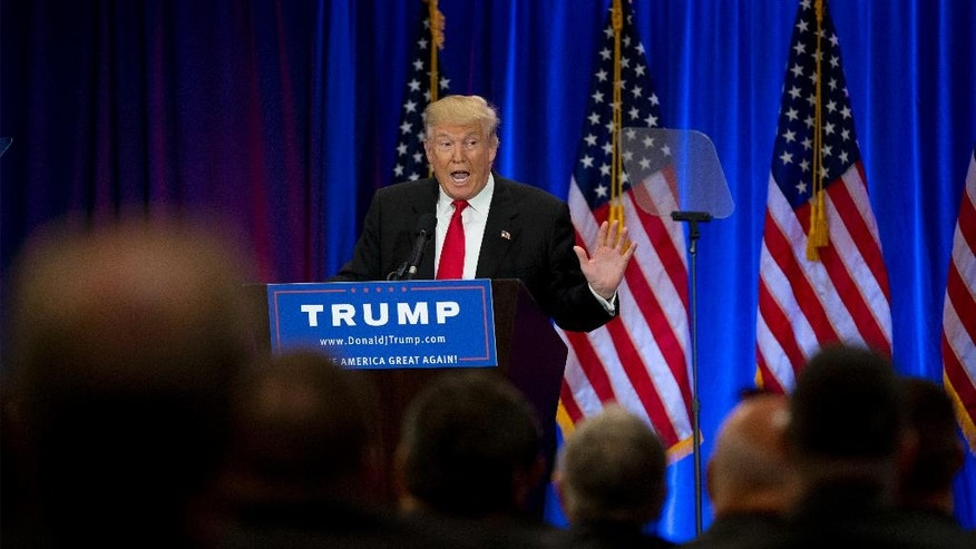 Republican presidential candidate Donald Trump speaks in New York, Wednesday, June 22, 2016. (AP Photo/Mary Altaffer)