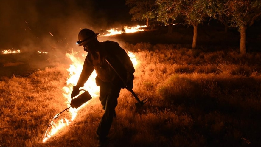 A Kern County firefighter sets a backfire by a wildfire burning near Lake Isabella, Calif. on Friday, June 24, 2016.  Dozens of homes burned to the ground as a wildfire raged over ridges and tore through rural communities in central California, authorities said. (Ryan Babroff via AP)  ONE TIME USE NO SALES, NO ARCHIVE, MAGS OUT