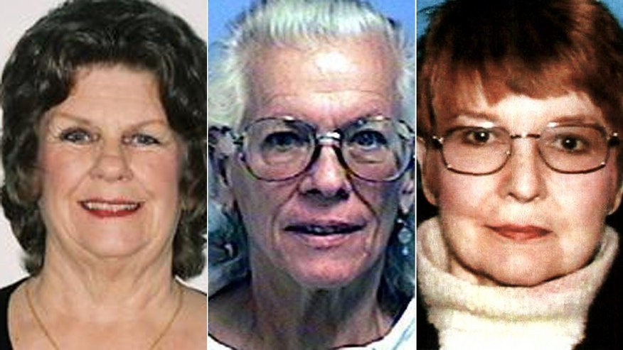 These undated images show, from left, Nancy Rae Hartz, Verna Clayon and Neva Jane Lindley. Authorities say all three women disappeared in similar circumstances and may be victims of a serial predator