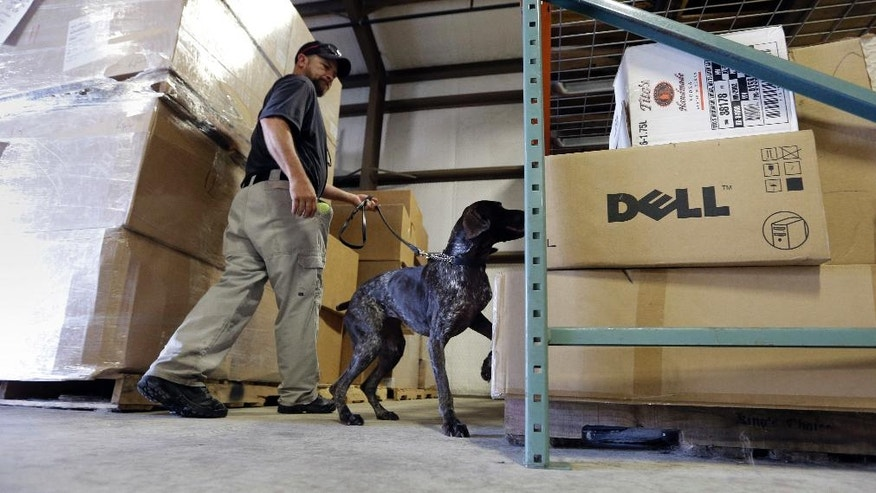 In this Thursday, June 9, 2016, photo, Transportation Security Administration dog trainer Ford Rinewalt works with Sylvia, a bomb-sniffing dog, in a makeshift warehouse during a drill at Lackland Air Force Base in Texas. Short-staffed and often criticized, the TSA aims to improve training for airport screeners. (AP Photo/Eric Gay)