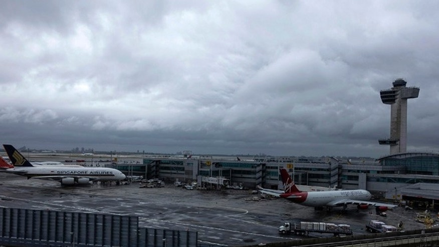 A general view of the international arrival terminal at JFK airport in New York October 11, 2014.