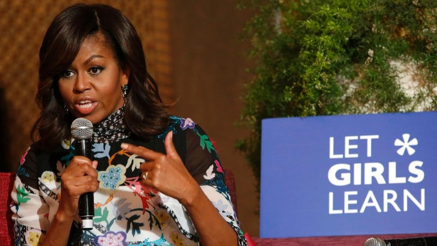 """U.Sfirst lady Michelle Obama speaks during a conversation with teenage girls in Marrakech, Morocco, Tuesday, June 28, 2016. U.S. First Lady Michelle Obama was visiting Morocco to promote for the """"Let Girls Learn"""" in the North African kingdom, where only 36 percent of girls continue school beyond the primary level. (AP Photo/ Abdeljalil Bounhar)"""