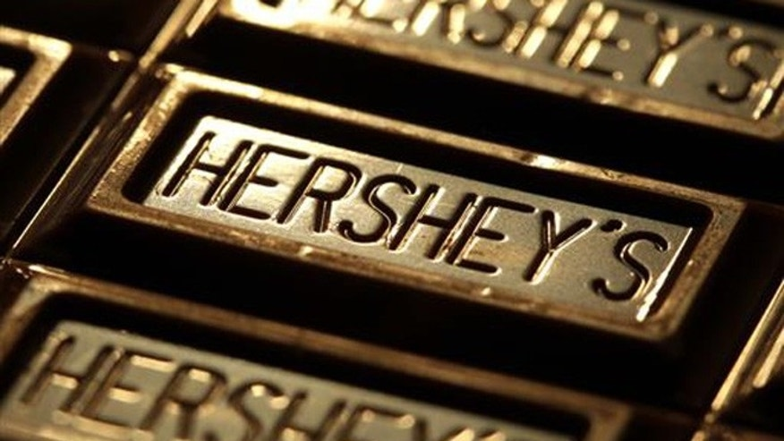 This July 25, 2011, file photo shows Hershey's chocolate in Overland Park, Kan.