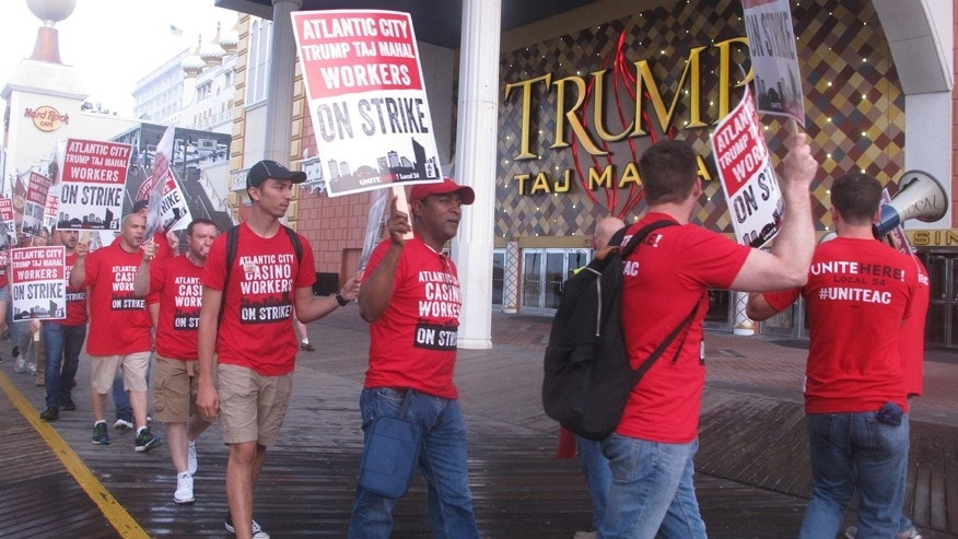July 1, 2016: Union members picket outside the Trump Taj Mahal casino in Atlantic City N.J.