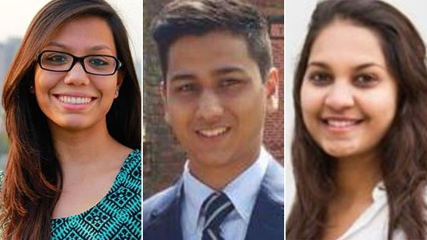 These undated photos show, from left, Abinta Kabir, Faraaz Hossain, and Tarushi Jain. Kabir and Hossain were students at Emory University, while Jain attended the University of California, Berkeley. All three died in the attack on the Holey Artisan Bakery in Dhaka, Bangladesh
