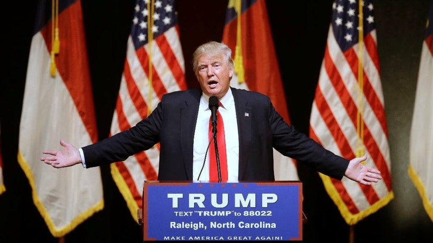 Republican Presidential candidate Donald Trump speaks at a rally in Raleigh, N.C., Tuesday, July 5, 2016. (AP Photo/Gerry Broome)
