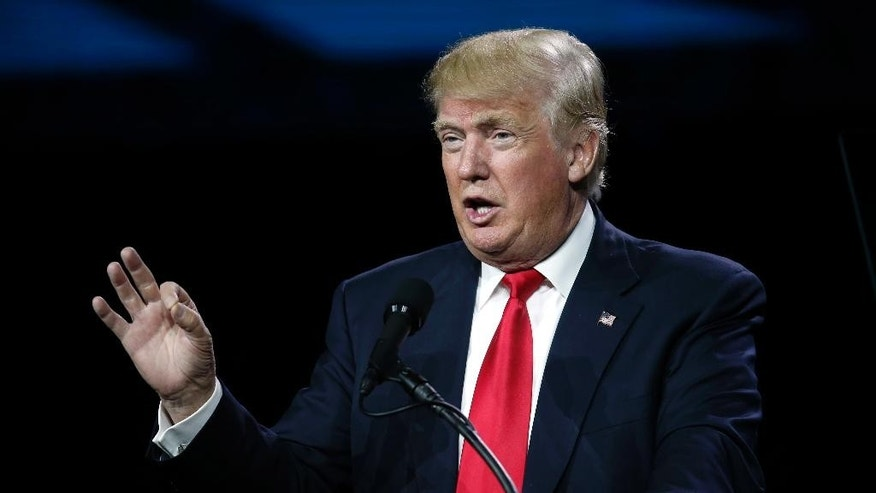"FILE - In this July 1, 2016, file photo, Republican presidential candidate Donald Trump speaks during the opening session of the Western Conservative Summit in Denver. Trump is again praising former Iraqi President Saddam Hussein's ruthlessness, saying he killed terrorists ""so good."" Trump was speaking at a rally Tuesday, July 5, 2016, in North Carolina when he turned to the former Iraqi leader. (AP Photo/David Zalubowski, File)"