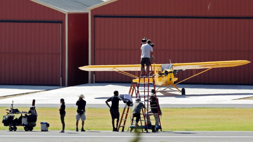 July 6, 2016: Members of a film crew are seen at Agua Dulce Airpark, a small, rural airport in Agua Dulce, Calif., in northern Los Angeles County.