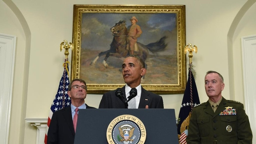 President Barack Obama, flanked by Defense Secretary Ash Carter, left, and Joint Chiefs Chairman Gen. Joseph Dunford, makes a statement on Afghanistan from the Roosevelt Room of the White House in Washington, Wednesday, July 6, 2016. The president said the U.S. will leave 8,400 troops in Afghanistan when he completes his term, down slightly from the current number but well up from the 5,500 he announced previously, arguing America's interests depend on helping Afghanistan's struggling government fight continuing threats from the Taliban and others. (AP Photo/Susan Walsh)