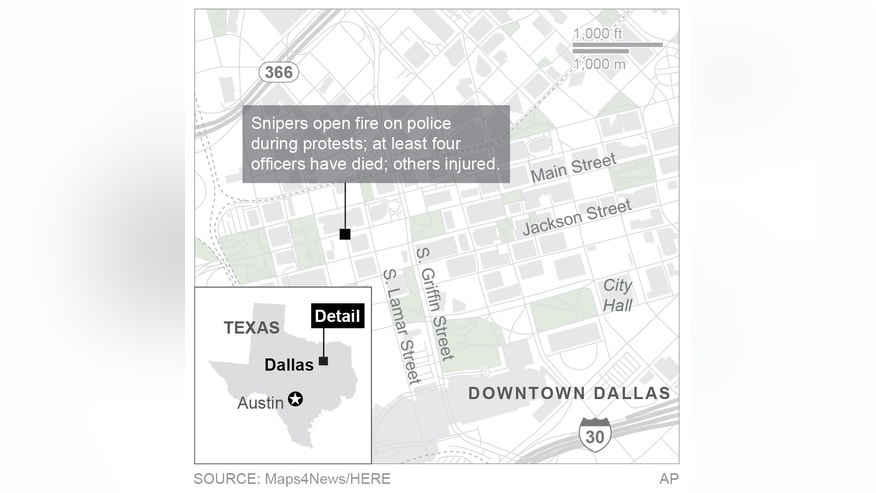 Map locates shootings in Dallas; 2c x 3 inches; 96.3 mm x 76 mm;