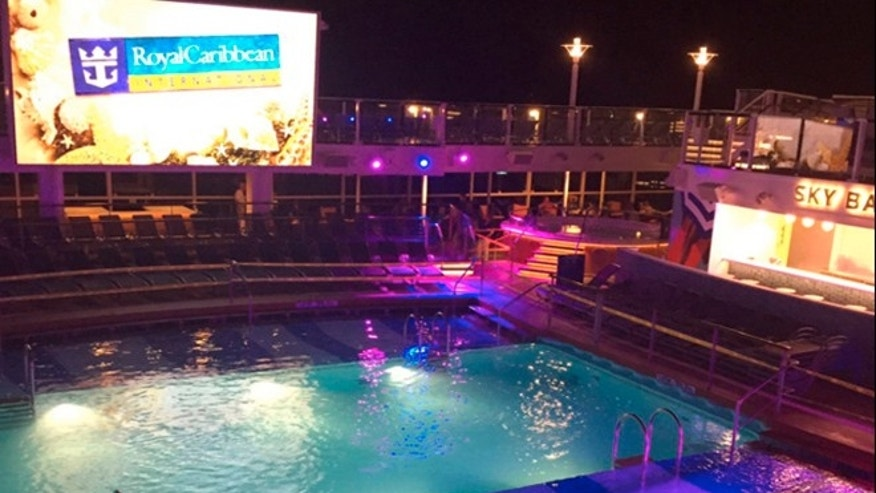 This Thursday, June 30, 2016, photo shows a pool on a Royal Caribbean cruise ship which a child fell into. The U.S. Coast Guard said the boy who fell into the pool on the cruise ship off the coast of New Jersey and nearly drowned is in critical condition. (Jacob Triplett via AP)
