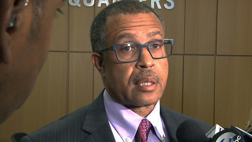 "In this image from video, Detroit Police Chief James Craig speaks to reporters during a news conference held at his department's headquarters in Detroit, Monday July 11, 2016. Craig discussed his decision to demote a white Detroit police detective who, in an online post on Facebook, referred to the Black Lives Matter movement as ""racists"" and ""terrorists."" (AP Photo/Mike Householder)"