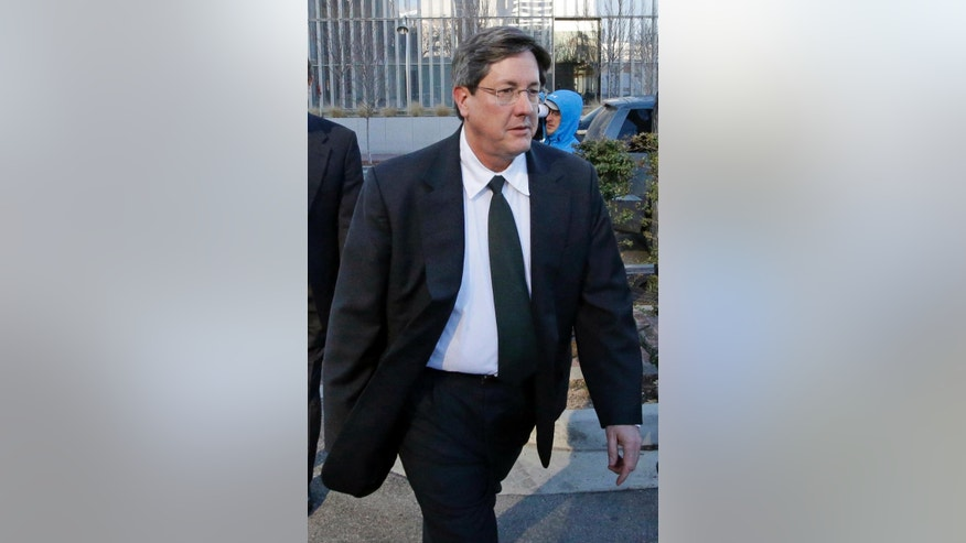 FILE - This Jan. 21, 2015 file photo, Lyle Jeffs leaves the federal courthouse in Salt Lake City. Authorities say Utah polygamous sect leader Jeffs likely used olive oil or another lubricant to slip off his GPS ankle monitor and escape home confinement last June 2016. Jeffs was supposed to be on home confinement pending trial in an alleged multimillion-dollar food stamp fraud scheme. (AP Photo/Rick Bowmer, File)