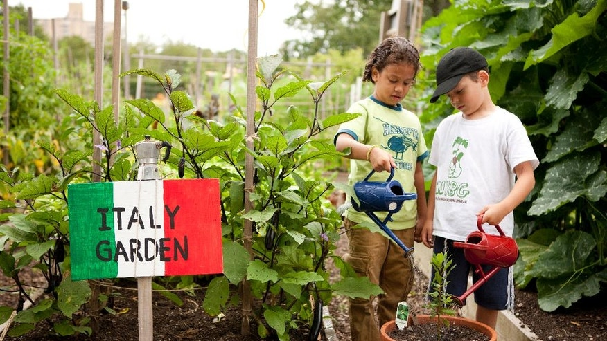 In this undated photo provided by The New York Botanical Garden, kids take part in gardening inside the Family Garden at The New York Botanical Garden in New York. (The New York Botanical Garden via AP)