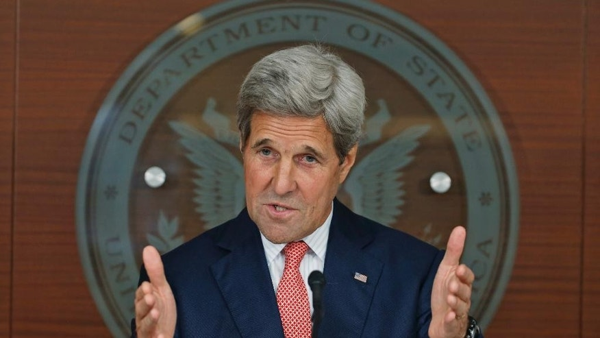 In this July 12, 2016, photo, Secretary of State John Kerry speaks at the Washington Passport Agency in Washington. Frustrated by months of failure in Syria, the U.S. is taking what might be its final offer to Russia. Officials say Moscow would get long-sought intelligence and military cooperation to fight the Islamic State and other extremist groups, if Syria's Russian-backed leader upholds a ceasefire with U.S.-supported rebel groups and starts a political transition. Kerry, who will travel to Moscow later this week, has spoken of an August deadline for Syria's transition to begin. (AP Photo/Alex Brandon)