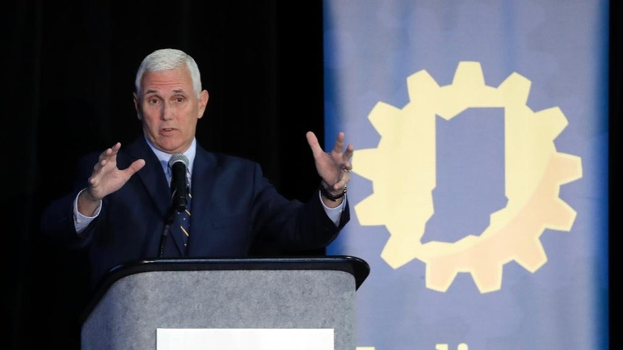 Indiana Gov. Mike Pence speaks during the Innovation Showcase, Thursday, July 14, 2016, in Indianapolis. (AP Photo/Darron Cummings)