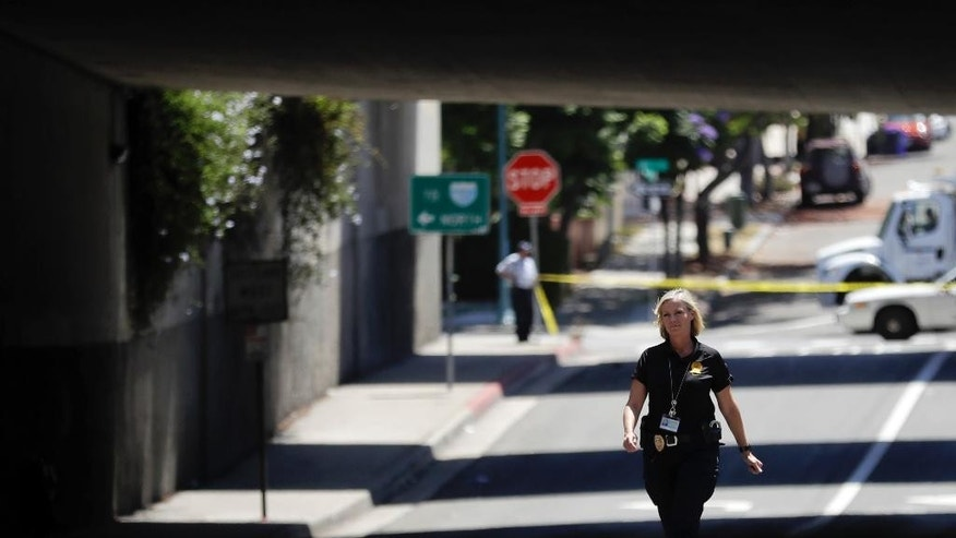 A police official walks near where a man was beaten Friday, July 15, 2016, in San Diego. San Diego police early Friday detained a person in the investigation of a spate of deadly attacks on homeless men — shortly after finding the latest victim, a 55-year-old man bleeding under the freeway overpass with severe trauma to his upper body. (AP Photo/Gregory Bull)